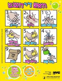 Handwashing tips in Yiddish