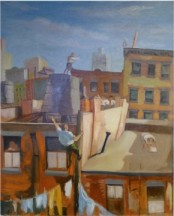 'City Rooftops' by Louis Ribak. Collection of Steven and Stephanie Wasser.Read more: http://blogs.forward.com/the-arty-semite/170628/depression-era-paintings-show-misery-and-joy/#ixzz2KFfR5fj2
