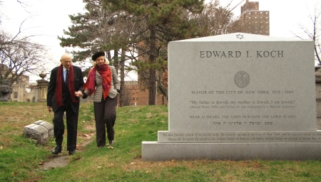 """The former New York mayor visits his own gravestone in the documentary """"Koch."""" (Courtesy of Zeitgeist Films)"""