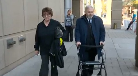Sex Assault Shrink: Dr. Aubrey Levin, right, shown here walking to court in the Canadian city of Calgary, was convicted of sexually assualting patients. A rabbi defended him.