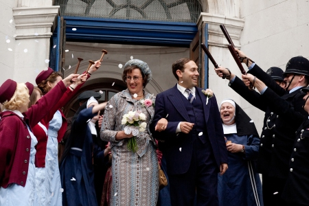 """Call the Midwife"" fans have closely followed the romance between Caplan's police constable and a nurse played by Miranda Hart. (Laurence Cendrowicz/Neal Street Productions)"