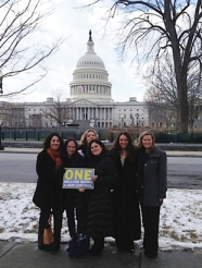 Outside the Capitol on Jan. 24 are (from left) Sara Smirin, Jennifer DiBrienza, Christine Tachner, Kim Samek, Michelle Sandberg and Nancy Rudin. photo/jennifer fiore