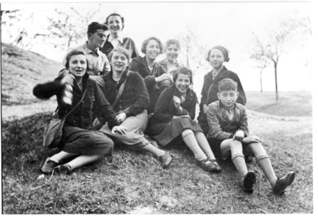 Local Zionist youth group outing in Halle, 1937. Eber's older sister Lore is at far left in first row. (photo credit: courtesy)