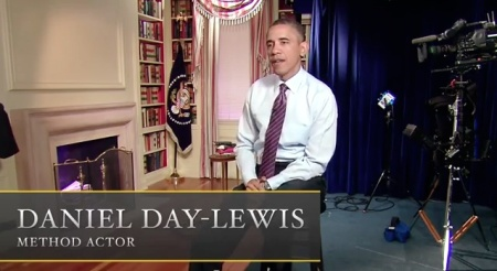 President Obama plays Daniel Day-Lewis playing President Obama in Steven Spielberg's 'Obama.' (photo credit: YouTube screenshot)
