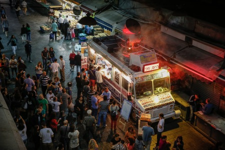 The AutoOchel stops at Jerusalem's Machane Yehuda market (photo credit: Tal Shahar)