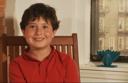 Manhattan fourth-grader Asher Weintraub alongside his Menurkey prototype. (Kickstarter screenshot)