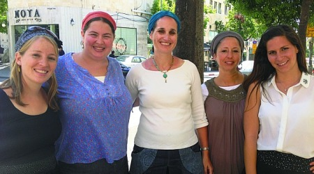 The Mitnachalot Bareshet bloggers (left to right): Miri Maoz-Ovadia, Racheli Siegel, Meira Dolev, Tamar Asraf and Hila Luxenburg (photo credit: Renee Ghert-Zand)