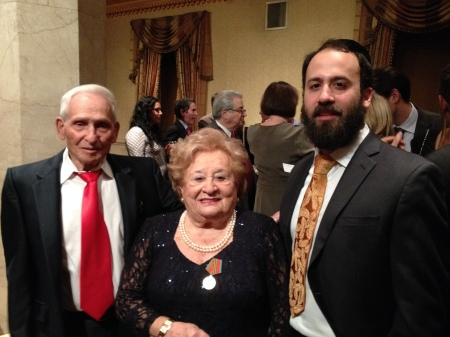 Aron Bell, the last surviving Bielski brother, with fellow partisan Leah Johnson and her grandson Rabbi Zev Johnson. (photo credit: Renee Ghert-Zand)