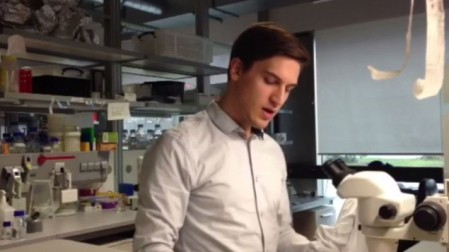 Sam 'Ushy' Katz rocks out to a hassidic niggun in the lab. (photo credit: screenshot)