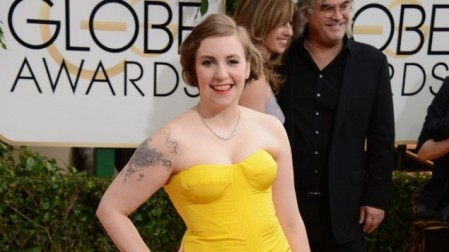 Lena Dunham arrives at the 71st annual Golden Globe Awards at the Beverly Hilton Hotel on Sunday, Jan. 12, 2014, in Beverly Hills, Calif. (photo credit: Jordan Strauss/Invision/AP)