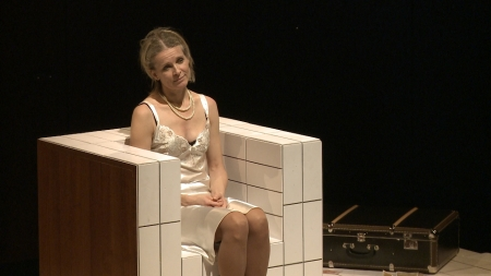Ingrid Timkova plays Gisi Fleischmann in the play that Natasha Dudinski filmed for her documentary, 'Gisi.' (courtesy of Natasha Dudinski)