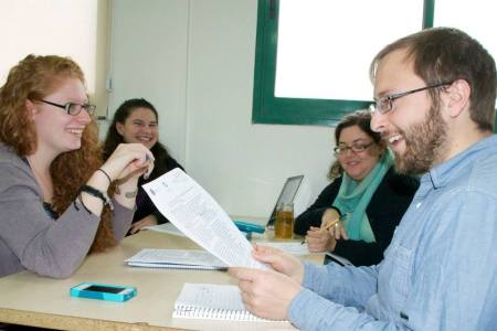 Pardes students discuss a Jewish text about constructive conflict (photo credit: Andrea Wiese/courtesy of Pardes Institute) Read more: 9 Adar encourages conflict - constructively | The Times of Israel http://www.timesofisrael.com/9-adar-encourages-conflict-but-in-a-constructive-way/#ixzz2soJ5zCUc  Follow us: @timesofisrael on Twitter | timesofisrael on Facebook