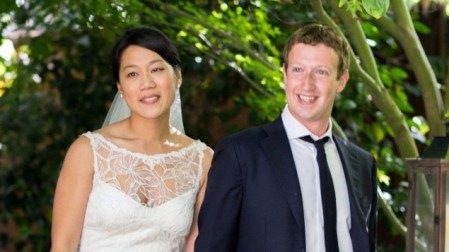 This courtesy photo shows Facebook founder and CEO Mark Zuckerberg and Priscilla Chan at their wedding ceremony in Palo Alto, Calif., Saturday, May 19, 2012 (photo credit: AP/Facebook, Allyson Magda Photography)